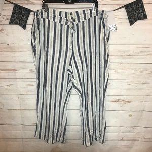 Per Se Pinstripe Pull On Pocket Pants Plus Size 2X